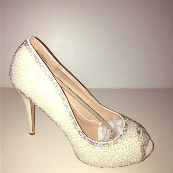 cac7114218db Eternity Pearl Bridal Peep Toe High Heel Shoe Nude. NWT. De Blossom  Collection